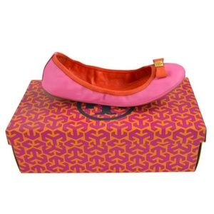 Tory Burch Flamingo/Fire Orange Eddie Flats